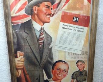 Vintage Timely Clothing Framed Ad