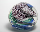 Purple Green Blue on White Glass  Paperweight -  Glass Paperweight - Colorful Glass Paperweight