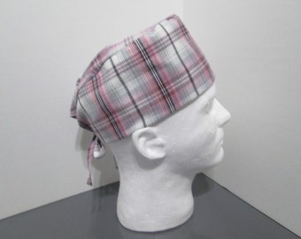 Pink, Gray, Black, and White Plaid Surgical Scrub Cap