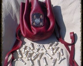 BLOODSTONE COLORS Wolf  with Flame  Futhark 24 rune set  Grey Wolf bone with leather bag   High Quality  heathen pagan
