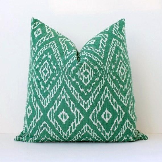 Green & White Ikat Decorative Designer Pillow Cover malachite