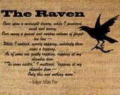 Burlap Digital Download Instant Digital Iron On Transfer Fabric Clipart Digital Transfer Edgar Allen Poe The Raven Poem Poetry Bird No 4718