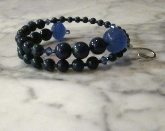 Azurite and Blue Quartz Stone and Crystal Brow Third Eye Chakra Healing Bracelet