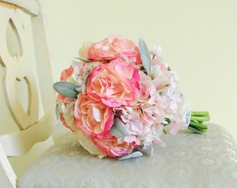 Light Pink and Cream Peony, Ranunculus, Hydrangea Silk Bouquet with Silver-Green Dusty Miller Leaves (Vintage Bouquet, Light Pink Bouquet)