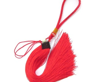 1Pc Red Silk Cord Long Tassel Hanging  ja571