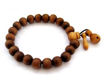 10mm Tibet Buddhist Peach Wood Prayer BeadsJapa Mala Bracelet Wrist Hand String/Length In About 170mm/Elastic Cord  T2735