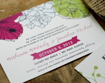 Floral Seaside Wedding Invitation - printable - beach wedding - tropical wedding - destination wedding