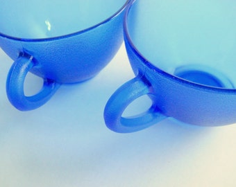 Blue Punch Cups, Cobalt Blue Cups,  Coffee Cups,  Blue Cups,  French Farmhouse, Blue Glass Cups, Blue Tea Cups, Tea for Two