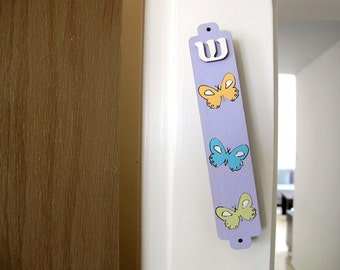 Kids mezuzah purple butterflies mezuzah for a new baby new born girl nursery room