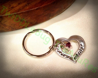 Hand Stamped Heart Washer Mother's Key Chain
