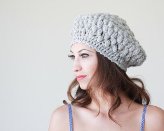 Grey crochet hat, Women crochet beanie, Grey crochet beanie, Winter crochet beanie, Grey crochet beret, Women grey beret, Winter grey beret