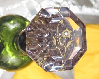 Antique Glass Door Knob Bottle Stopper Topper ROSE Of SHARON Wedding for Wine & Absinthe