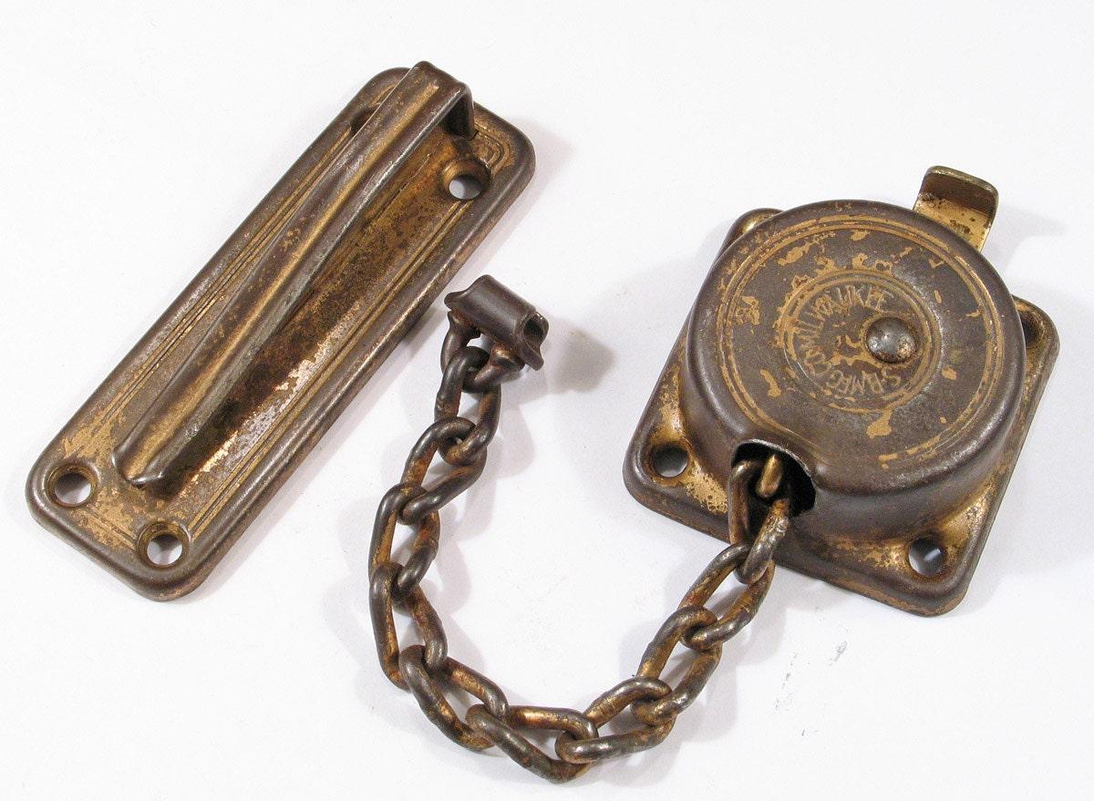 Vintage Door Chain Latch Lock W Keeper Milwaukee