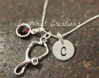 Hand Stamped Mini Initial Sterling Silver Stethescope Charm Necklace for Nurses or Doctors