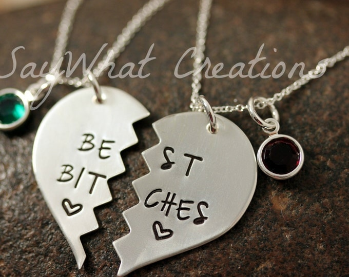 MATURE CONTENT Custom Hand Stamped Necklace Set Best Bitches Best Friends Necklaces