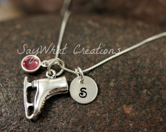 Sterling Silver Mini Initial Hand Stamped Ice Skate Charm Necklace Figure Skater Ice Skater