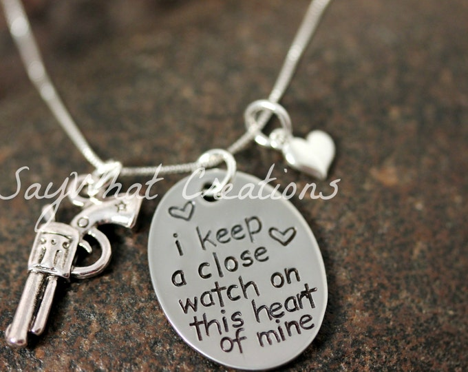 "Sterling Silver Hand Stamped ""I keep a close watch on this heart of mine"" Necklace"
