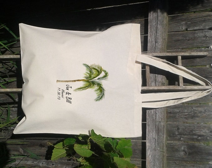 Wedding Welcome Tote Bags, Palm Tree Tote Bag, Wedding Faovr