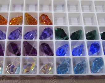 4p 13mm Swarovski Crystal 6000 Teardrop Beads Colors Loose Crystal beads jewelry making findings parts