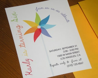 Pinwheel party : Birthday Invitations - Set of 12