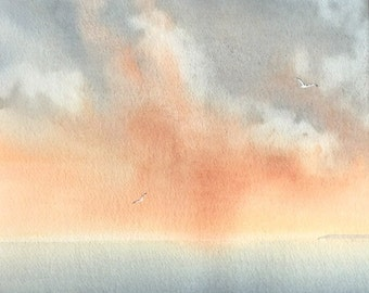 Sunset and storm coastal ocean sky and gulls original watercolour painting