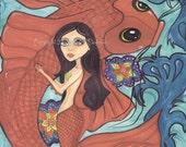 Mermaid illustration print, koi, Siren, goldfish, Sea creature, blue and orange, ocean, sea, aquatic,