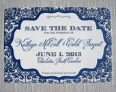 Damask Frame Letterpress Save the Date