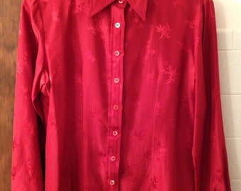 Vintage 90s red silk blouse from Hong Kong 11 12