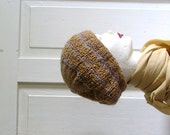 Knitted Slouchy , Bret, Oversized  Mustard Beanie hat, Chunky knit slouchy hat, Tam.OOAK, RECYCLING - recyclingroom