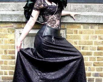 Long Gothic Skirt Maxi Floor Length with Leatherette Garters and Baroque Print UK size 8