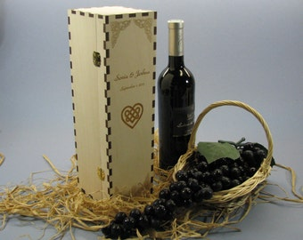 Personalized Wine Box with Hinges & Latch