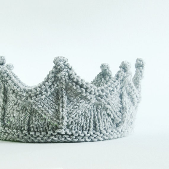 Silver Gray Lace Knit Knight Crown Boy Headband Crown for