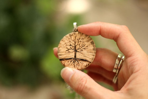 Wood Burned Tree Necklace - Tree Necklace - Woodburned Necklace