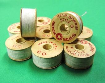 10 Vintage Cotton STAR BOBBINS STYLE G Upholstery thread ecru cream 60 yds bobbin floss Intl