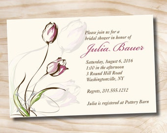 TULIP ROMANCE Bridal Shower Party Event Printable Invitation - Printable digital file or printed invitations