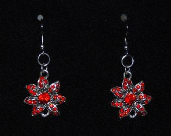 Red Glass and Silver Metal Flower Dangle Hook Earrings