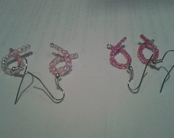 Ribbon pierced earrings dangle glass bead Pink