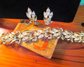 Shimmering CORO Signed Opulent RHINESTONE Bracelet & Earrings - Vintage Demi Parure - Treasury Item