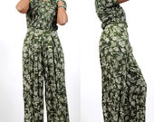 80s Jumpsuit - Womens Vintage Jumper Pants - Floral Print Onsie Jumper - Pleated Babydoll Empire Bodice - Small