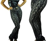 High Waisted Black Lace Pants / Vintage Black Lace Stretch Pants / Disco Party Pants S / M / Small / Medium