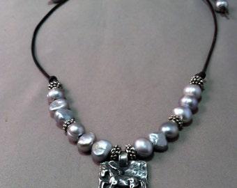 Pewter Hrose Pendant Necklace, Equestrian Necklace, Martig Pendant Necklace, Freshwate Pearl Necklace