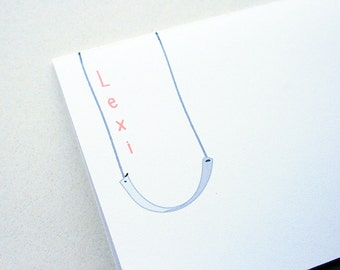 Kids' Stationery -- Personalized Notes -- L E X I -- Set of Custom Notes & Envelopes in White- CHOOSE your QUANTITY