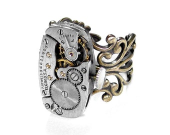 Steampunk Jewelry Ring Vintage ELGIN Watch Movement Steam Punk Mens Womens Ring SOLDERED Wedding Anniversary - Jewelry by Steampunk Boutique
