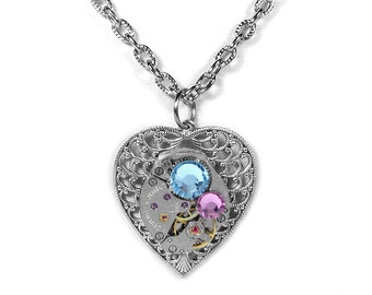 Steampunk Necklace Vintage Watch Womens Silver Filigree HEART Aqua Rose Crystal Mothers Holiday Gift For Her - Jewelry by Steampunk Boutique