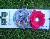 Blue floral shabby chic flower and hot pink felt flower headband....size 24mo and up
