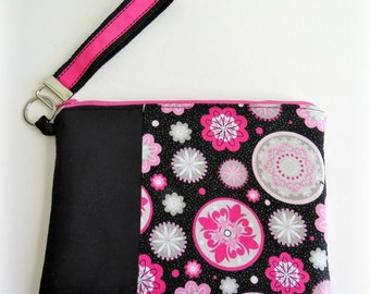 PInk and Black Fabric Clutch/Wristlet