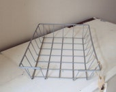 Fabulous VINTAGE grey wire coated basket / tray. Industrial decor. Great storage