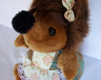 Darling Vintage Stuffed Girl Hedgehog