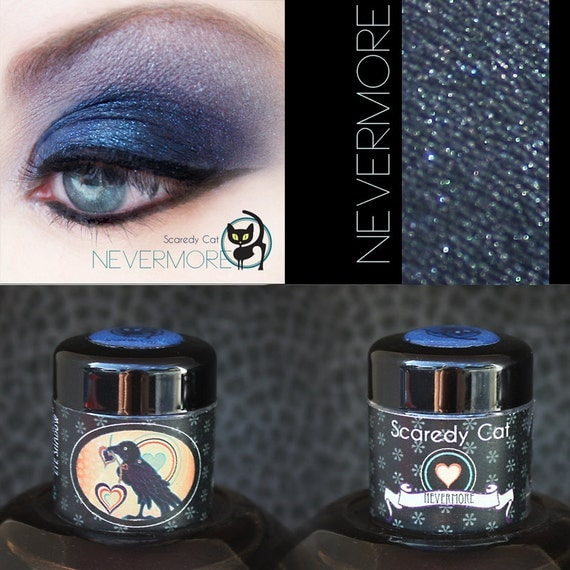 Dark Blue Mineral Eye Shadow - Vegan - Scaredy Cat - NEVERMORE - 5 mL Sifter