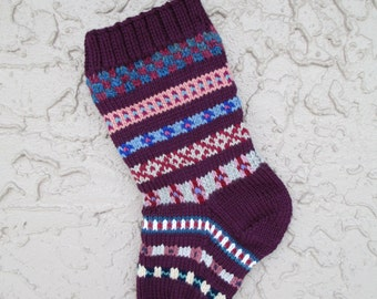 Christmas stocking hand knit in purple grape with FREE U.S. SHIPPING vibrant colors and patterns